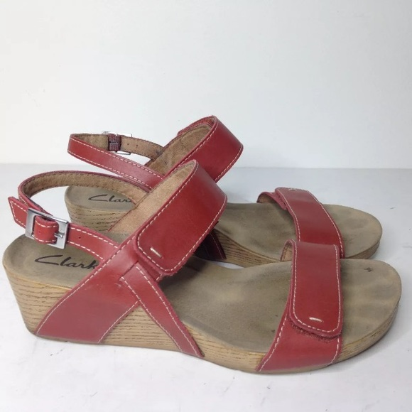 2302ce7e522 Clarks Shoes - Clarks red wedge adjustable sandals Alto Disco 7.5